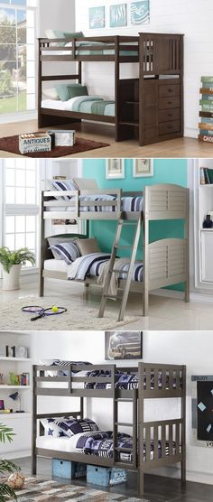 We love grey!  Twin over Twin Bunk Beds in gray finishes
