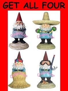 Travelocity Roaming Gnome Set of Four Gnomes NEW