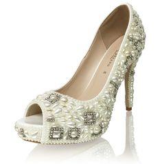 Luxury Vintage Style Pearl Bridal Wedding Platform Heels