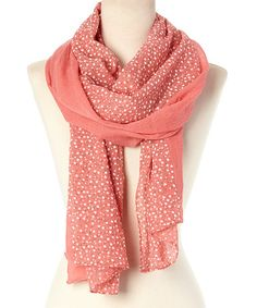 Take a look at this Coral Polka Dot Scarf on zulily today!