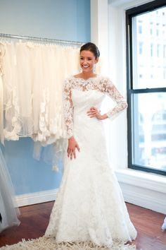 White Lace Illusion Neckline, Long Sleeved Wedding Dress