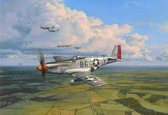 American Eagles By: Robert Taylor - One of World War Two's best known P-51 Mustangs, Glamorous Glen III, flown by one of aviation's best known pilots. Chuck Yeager, together with pilots of the 357th Fighter Group head out of Leiston in Suffolk, on escort duty for an 8th Air Force bombing mission to Germany, October 1944. #aviationpilotworldwarii