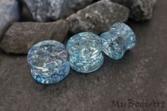 Shattered Glass Ear Plugs in Blue