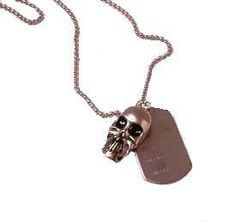 """Stainless Steel 2 1/4"""" Skull Pendant with Dod Tag Has a 22"""" Stainless Steel Ball Chain Necklace"""