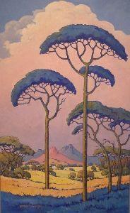 """Landscape with Blue Trees 'Pierneef Style'"" Hannes van der Walt Landscape Artwork, Landscape Illustration, Illustration Art, South African Artists, Parasol, Art Graphique, Illustrations, Gravure, Tree Art"
