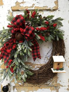 Rustic Christmas Wreath Christmas Birdhouse wreath Winter