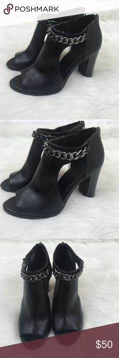 Simply Vera Vera Wang Open Toe High Heel Booties Excellent used condition. Worn once.  Faux Leather.  Please let me know if you have any questions. Simply Vera Vera Wang Shoes Ankle Boots & Booties