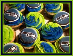 Seattle Seahawks Cupcakes - Perfect for game night with your friends! By Exclusive Cakes by Tessa