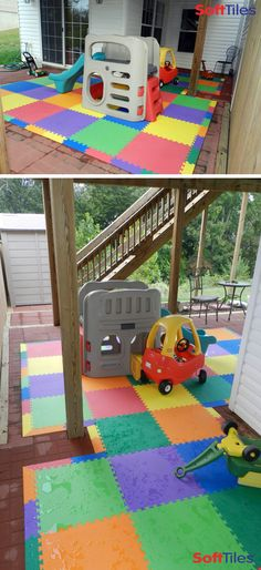 DEB~USe this for creating Devin's Zen Pallet raised area with straw mats ontop. Outdoor patio childrens play mat using SoftTiles Interlocking Foam Mats Childrens Play Mat, Toddler Play Area, Baby Play Areas, Soft Play Area, Backyard Playground, Backyard For Kids, Playground Ideas, Outdoor Play Spaces, Outdoor Mats