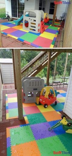 Outdoor patio childrens play mat using SoftTiles Interlocking Foam Mats