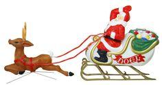 Santa Sleigh Reindeer Blow Mold Christmas Outdoor Yard Lawn Lighted Decoration | eBay