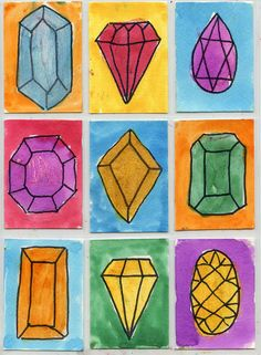 Draw jewels, trace with Sharpie, paint with watercolor and then a dash of glitter. Art Projects for Kids #atc