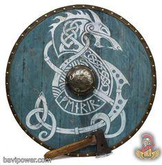 Epic Viking Shield - Space Wolves - Welcome Haar Design Vikings Art, Nordic Vikings, Viking Tattoo Meaning, Viking Tattoos, Viking Dragon Tattoo, Viking Shield Design, Viking Shield Maiden, Celtic Shield, Escudo Viking