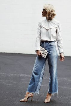 Ruffle poplin blouse + high waisted wide leg jeans +  suede studded pointed toe heels