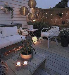 Small gardens, back gardens, backyard lighting, fence lighting, outdoor Back Patio, Backyard Patio, Backyard Landscaping, Outdoor Deck Lighting, Fence Lighting, Apartment Porch, Orquideas Cymbidium, Outdoor Rooms, Outdoor Decor