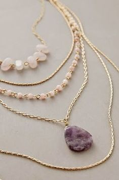 Love layers and the little beads as well as the stone. Love purple #BohemianJewelry