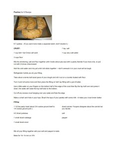 Pasties for 6 Recipe