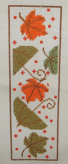 Counted Cross Stitch Pattern PDF-Fall book mark by jassycorner on Etsy