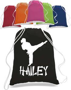 Girl Karate Martial arts Drawstring Bag Backpack personalized with name taekwondo judo totebag tote bag Backpack Bags, Tote Bags, Drawstring Backpack, Personalized Backpack, Dinosaur Shirt, Custom Tees, Taekwondo, Judo, Direct To Garment Printer