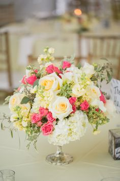 Sweet Pink and Yellow Garden Centerpiece | Inspired Photography by Susie & Becky | Stylish Blue & Yellow Country Manor Wedding with a Superhero Theme!