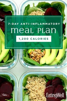 Anti-Inflammatory Diet Meal Plan: Calories In this healthy meal plan, we pull together the principles of anti-inflammatory eating to deliver a week of delicious, wholesome meals and snacks, plus meal-prep tips to set you up for a successful week ahead. 1200 Calorie Meal Plan, 200 Calorie Meals, Detox Meal Plan, Diet Meal Plans, Fitness Meal Plans, Pcos Meal Plan, Paleo Diet Meal Plan, Detox Meals, 7 Day Meal Plan