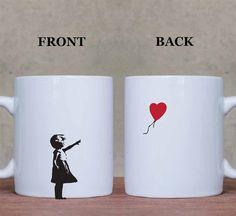 Bansky Balloon Girl Coffee Mugs Ceramic Tea Cup by EpicDecorGuru $16.40