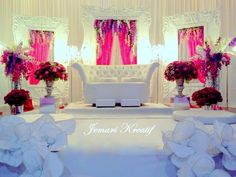 Pink, Purple and White Wedding Stage
