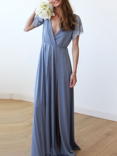 Dusty Blue Wrap Maxi Dress With Short Lace Sleeves