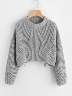 Vented Hem Chunky Knit Crop JumperFor Women-romwe