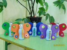 Mariposas con actimel – Best DIY images in 2019 Animal Crafts For Kids, Summer Crafts For Kids, Toddler Crafts, Diy For Kids, K Cup Crafts, Easter Crafts, Fun Crafts, Arts And Crafts, Daycare Crafts