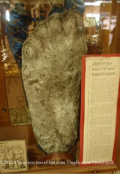 Bigfoot print at The End of the Trail Museum in Klamath, California.