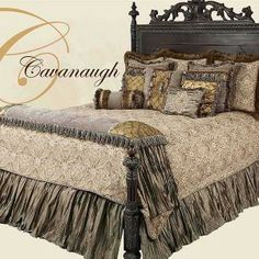 Luxury Tuscan Style High-End Bedding in subtle greys and tans from Reilly-Chance Collection: Cavanaugh Bedroom Drapes, Master Bedroom, Bedroom Decor, Luxury Bedding Collections, Luxury Bedding Sets, Carters Furniture, Tuscan Colors, Bed Sets For Sale, Large Beds