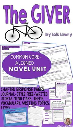 Giver Novel Unit - Common Core aligned - This attractively-designed resource will provide your students meaningful practice with Common Core skills while reading Lois Lowry's The Giver. Chapter-by-chapter response pages keep students engaged with the text. Journal-style free-writes slides facilitate great discussion. Differentiate with writing topics, complete with rubric. Teachers love this unit! Click to view a preview.