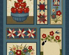 NEW Liberty Hill Quilt Fabric 100% Cotton Americana Patriotic Fabric Panel Apples