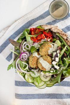 Greek Salad with Baked Falafel by cookieandkate #Falafel #Greek_Salad #cookieandkate
