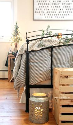 Come tour this cozy farmhouse style bedroom filled with plenty of winter bedroom decor inspiration. How to decorate after the holidays with neutral tones, DIY decor, and budget-friendly buys.