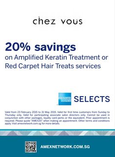 """1. For First Time guest to Chez Vous only 2. For participating associate salon directors only 3. Valid from Sunday – Thursday only 4. Valid from 23rd February 2015 - 31st May 2015 5. By reservation only 6. Do make mention of this promotion by quoting """"AMEX20"""" when making a reservation 7. Cannot be used in conjunction with other in-store offers, vouchers, promotions, packages or loyalty card perks and equivalent"""