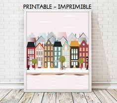 ilustracion Amsterdam, lamina Amsterdam, Casas Amsterdam, cuadro Amsterdam,laminas ciudades,laminas imprimibles,5 TAMAÑOS INCLUIDOS