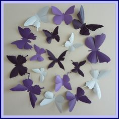 3D Wall Butterflies - 15  Lavender, Lilac Purple, Dark Plum,  White Butterfly Silhouettes, Nursery, Home Decor, Wedding. $25,00, via Etsy.