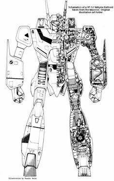 VF-1J Valkyrie Battroid schematics. yes i know valkries were Robotech, but still it is cool...