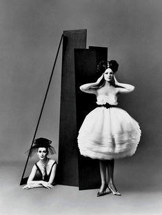Photo by Richard Avedon.  Dovima and Betsy Pickering, dresses by Lanvin-Castillo, Paris studio, August 1958.