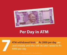 ATM withdrawal limit of Rs 2000 per day per card initially and this will be later raised to Rs 4000 per day