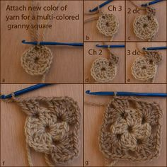 Crocheted Granny Square step by step
