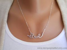 Cursive Love Necklace in Silver  Perfect Gift by thelovelyraindrop, $27.00