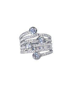 Blue Cubic Zirconia & Sterling Silver  Pavé Ring #zulily #zulilyfinds
