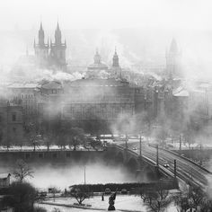 Prague misty towers.