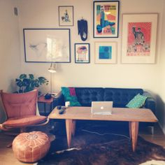 Ikea Karlfors sofa, table from the 60s, Sigurd Resell falcon chair, Posters