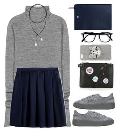 """405"" by niji-niji ❤ liked on Polyvore featuring Acne Studios, Burberry, Vanessa Mooney, Puma, Topshop and Montblanc"