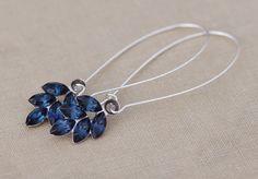 Antique Silver Vintage Navy Blue Rhinestone Leaf Earrings,Long Blue Rhinestone Long Dangle Earrings,Montana,Rustic,Estate,Old Hollywood by hangingbyathread1 on Etsy https://www.etsy.com/listing/262747908/antique-silver-vintage-navy-blue