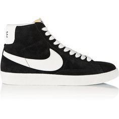 Nike Blazer perforated suede high-top sneakers ($65) ❤ liked on Polyvore featuring shoes, sneakers, black, black hi tops, hi tops, nike trainers, black sneakers and black high top sneakers